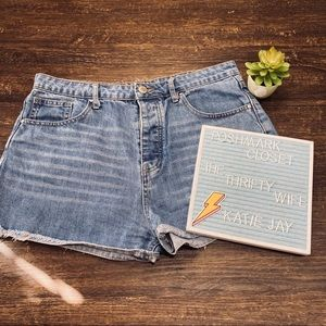 Forever21 Button Fly High Rise Distressed Shorts